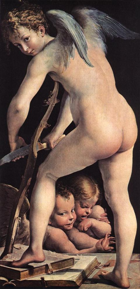 Parmigianino- Cupid carving his bow